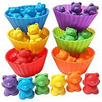 Набор для счета Разноцветные мишки два размера в корзиночках (54 шт.)